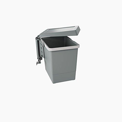 PBN ASG28 Linea Swing 2   Cubo de basura automático de puerta de plástico de gran capacidad, 15 litros, gris oscuro, 34 x 3 x 26 cm