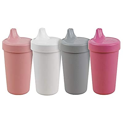 RE-PLAY 4pk - 10 oz. No Spill Sippy Cups for Baby, Toddler, and Child Feeding in Bright Pink, Blush, Grey and White   BPA Free   Made in USA from Eco Friendly Recycled Milk Jugs   Modern Blush+ by Re-Think It Inc.