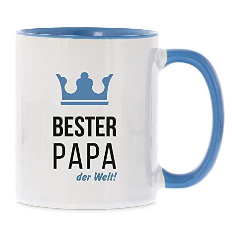 stempel-fabrik Keramiktasse Hellblau mit Aufdruck - Bester Papa der Welt - Kaffeetasse mit Spruch - Vatertagsgeschenk - Geschenkidee - Tasse Vatertag - Teetasse - Kaffeebecher - Geburtstagsgeschenk