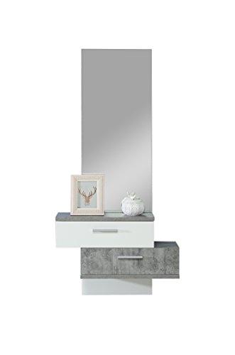 Forte Appendiabiti Compatto, Legno, Effetto Cemento Combinato con Bianco, 75.400000000000006 x 25.6 x 157 cm