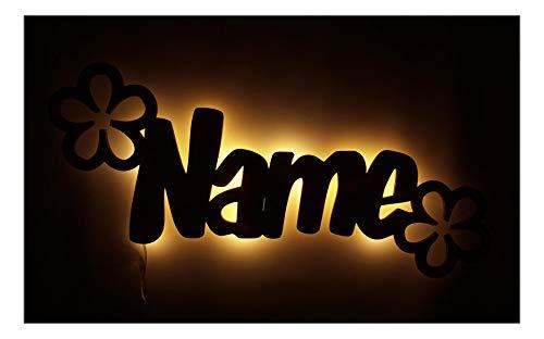 Schlummerlicht24 Led Deko Verblümt Blumen personalisiert Geschenke mit individuellem Namen, als Geburtsgeschenk Taufe Kommunion für Mädchen Baby Kinderzimmer