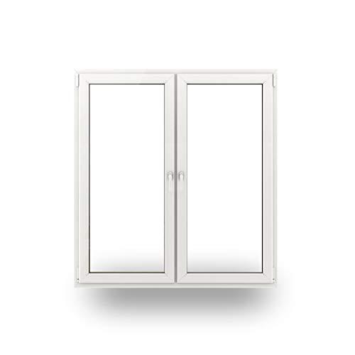 JeCo Fenster Kunststofffenster Wohnraumfenster - 2 flügelig mit Pfosten - BxH: 1600x1800-3-fach-Verglasung - 70 mm Profil - Sondermaße möglich