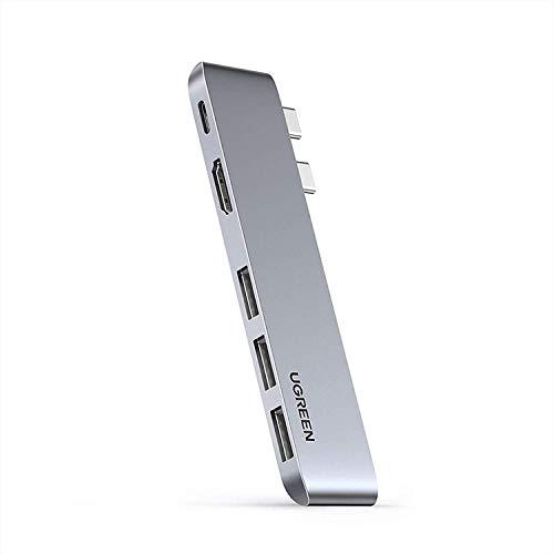 USB C Hub Type C Hub Adapter for MacBook Pro 13/15/16 inch 2020/2019/2018/2017/2016, MacBook Air 2020-2018 with 4K @30Hz HDMI, Thunderbolt 3 5K 60HZ, 100W PD, 2 USB 3.0 Port, SD/TF Card Reader