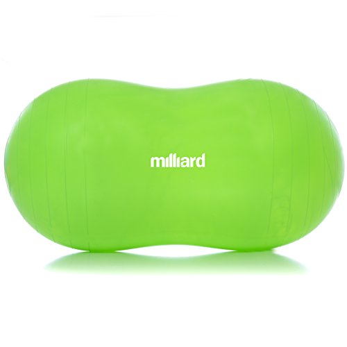Milliard Peanut Ball Green Approximately 39x20 inch (100x50cm) Physio Roll for Exercise, Therapy, Labor Birthing and Dog Training