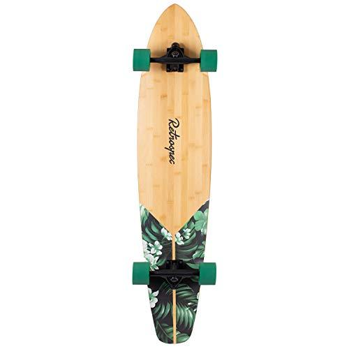 Retrospec Zed Bamboo Longboard Skateboard Complete Cruiser, Green Flora