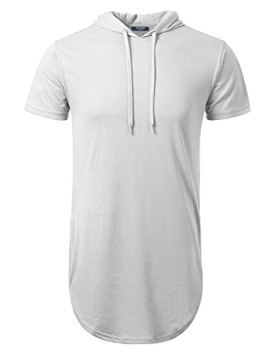 Aiyino Mens Hipster Longline Hooded Side Zipper T-Shirt US Large White