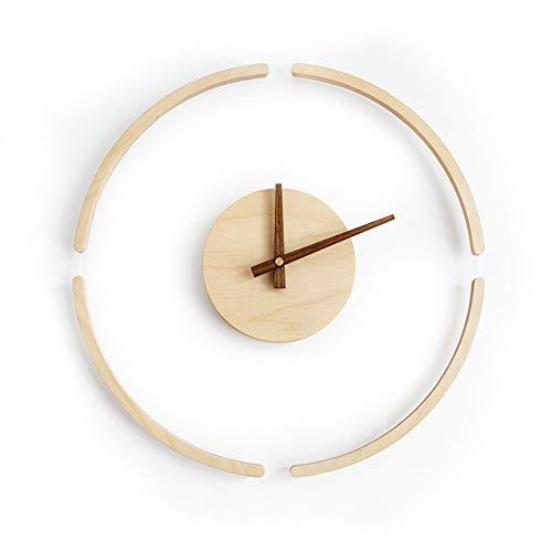 XM&LZ Silencioso Madera Reloj De Pared,Cuarzo Relojes De Pared Moderno Reloj De Arte Pilas Decoración Relojes para La Cocina Salón Dormitorio Oficina Amarillo 13.8inch