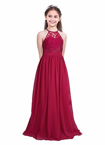 iEFiEL Girls Halter Lace Chiffon Flower Wedding Bridesmaid Dress Junior Ball Gown Formal Party Pageant Maxi Dress Burgundy 10