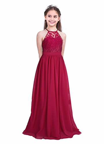 iEFiEL Girls Halter Lace Chiffon Flower Wedding Bridesmaid Dress Junior Ball Gown Formal Party Pageant Maxi Dress Burgundy 10