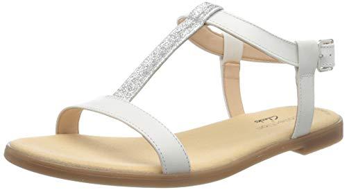 Clarks Damen Bay Rosa T-Spangen Sandalen, Weiß (White Combi White Combi), 40 EU