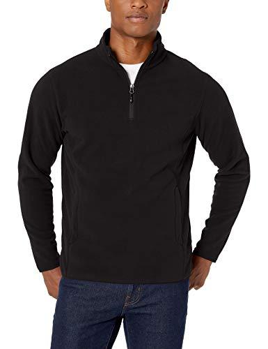 Amazon Essentials Quarter-Zip Polar fleece-outerwear-jackets, Black, Small