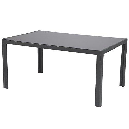 Ultranatura 20000000002A Korfu Tavolo in Alluminio con Piano in Vetro, Antracite