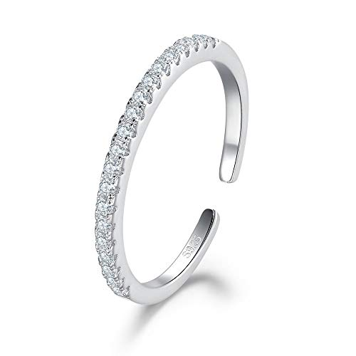 925 Sterling Silver Rings for Women, Ajustable Open Finger Rings Stackable Eternity Rings with Cubic Zirconia CZ Crystal Simulated Diamond Rings Thumb Pincky Rings 2mm Wide Band Sizes J -T