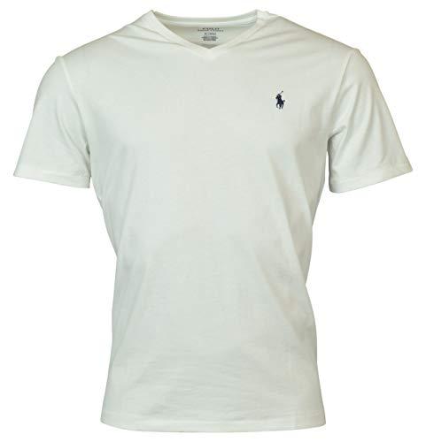 Ralph Lauren Mens Pony Logo V-Neck Short Sleeve T-Shirt (L, White) [Apparel]