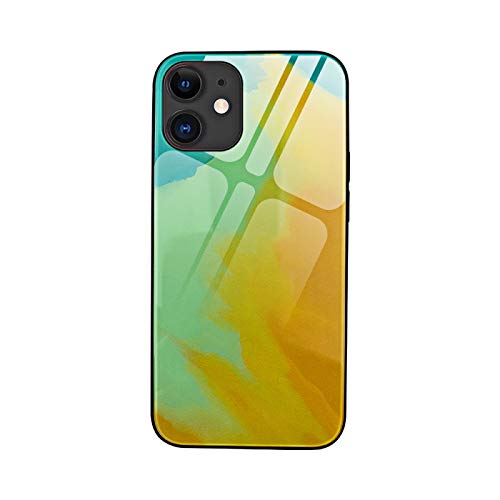 Adecuado para Apple 11/12 Pro Max acuarela caja de teléfono de cristal Color: verde oscuro, baya, púrpura, amarillo otoño