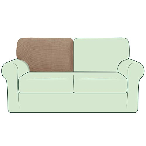 CHUN YI Stretch Couch Back Cover Cushion Backrest Slipcover Replacement Suitable for Armchair Loveseat Sofa with Drawstring, Checks Spandex Jacquard Fabric, T-Left, Camel
