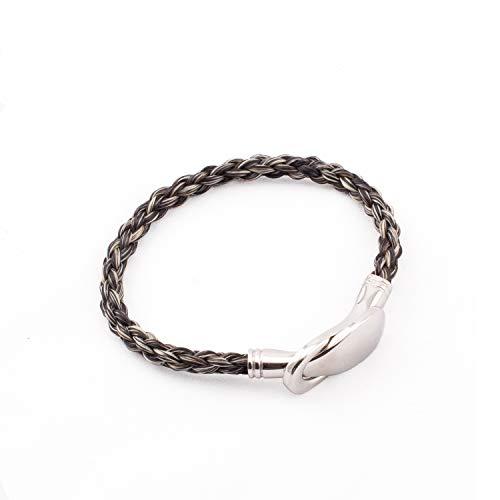 Crin De Cheval - Bracelet Equestre Pour Femme - Un Bijoux sur le theme du Cheval - Collection Jump - 20/21 cm - Tressage Rond - Gris