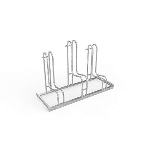 WSM Fahrradständer Bügelparker Reifenbreite bis 5,5 cm, Radabstand 35 cm, 3 Einstellplätze, verz. Stahl