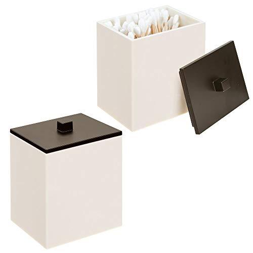 mDesign Apothekerdose, quadratisch, für Bad und Kosmetik Pack of 2 Creme/Bronze