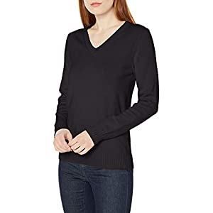 Amazon Essentials Women's 100% Cotton Long-Sleeve V-Neck Sweater