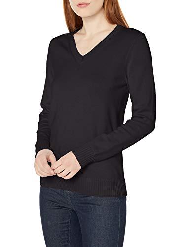 Amazon Essentials Women's 100% Cotton Long-Sleeve V-Neck Sweater, Black, Medium