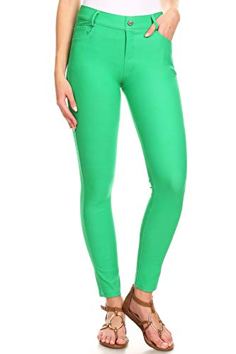 ICONOFLASH Women's Green Jeggings with Pockets Pull On Skinny Stretch Colored Jean Leggings Size Small