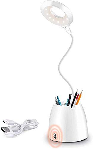 AMANKA Lampe de Bureau LED, Lampe de Table LED dimmable, Lampe Liseuse USB Rechargeable avec capteur Tactile 3 Modes d'éclairage, Lampe de Lecture Protection des Yeux pour Charger Smartphone