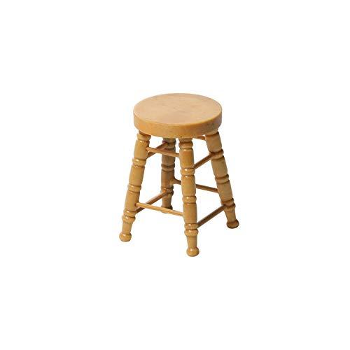 LQKYWNA Miniaturhocker im Maßstab 1:12 Holzrunder Barstuhl Mini Möbel Modell für Spielzeugpuppen DIY handgefertigtes Wohnaccessoire