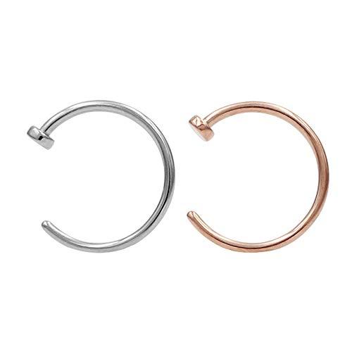 JOFUKIN 2pcs 316L Surgical Steel Piercing Jewelry 7mm Nose Rings 22 Gauge Lip Ring 22g Nose Hoop Silver & Rose Gold Thin Septum Rings for Women Men