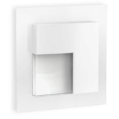 SSC-LUXon LED Einbaustrahler Treppe TAJO in Weiß - Wandeinbauleuchte mit 1W - passt in Ø 60 mm Unterputzdose Schalterdose
