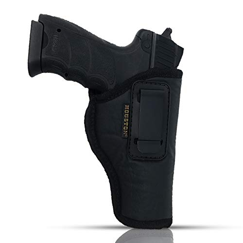 IWB Gun Holster by Houston - ECO Leather Concealed Carry Soft Material | FITS Glock 17/21, H &K,Beretta 92 FS,XDM,Ruger 45 BERSA PRO,PX4,FNX 45,FNH 45,HI Point 9/40/45 MM (Right) (CHP-57B-RH)