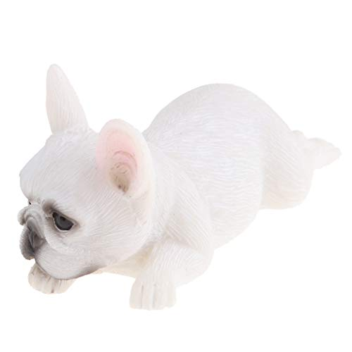 Resin Craft Animal Figure Toy French Bulldog Statue Garden Sculpture Indoor/Outdoor Ornament Photo Prop - White Forward Lunging
