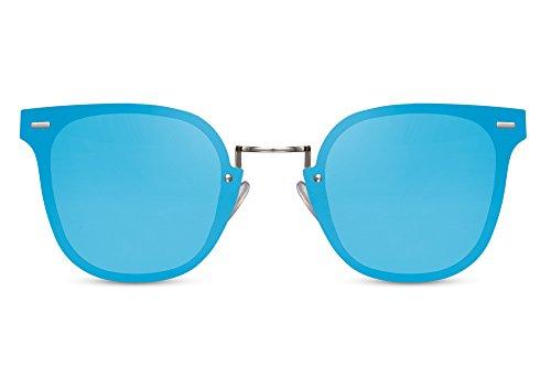 Cheapass Gafas de Sol Ojo de Gato Redondas Lentes Azules Espejadas Plateadas Metálicas