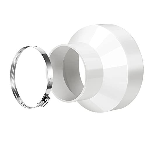 BIGKASI Riduttore universale per sistemi di ventilazione Riduttore per Condotto Diritto Adattatore Connettore di riduzione Tubo tondo di ventilazione per foro cappa aspirante cucina, 100-150 mm