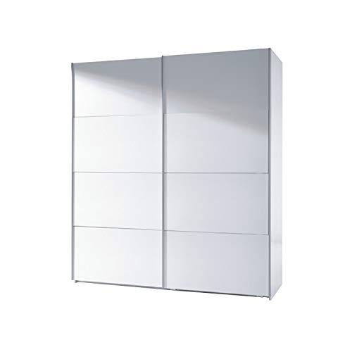 Armario Dos Puertas correderas, Armario Dormitorio Acabado en Color Blanco Brillo, Medidas: 180 (Largo) x 200 (Alto) x 63 cm (Fondo)