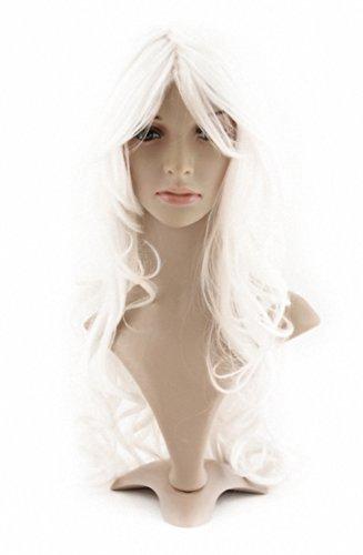 MapofBeauty 60cm/ 24 Pouce Longue Bouclé Femmes Bouclé Perruques (Blanc)