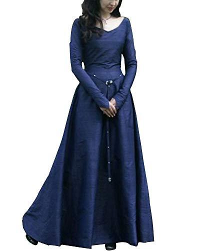 Liangzhu Frauen Vintage Mittelalter Cosplay Kostüm Langarm Kleid Prinzessin Gothic Übergröße Kleid Blau M