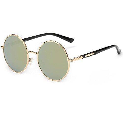 Gafas de sol redondas para mujer de Linyuan, diseño clásico vintage, UV400 dorado