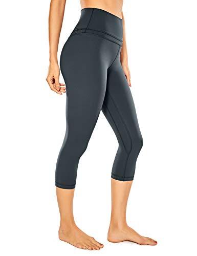 CRZ YOGA Donna Vita Alta Yoga 3/4 Capri Pantaloni Sportivi Leggings con Tasche Sensazione Nuda -48cm Blu navy-R418 42