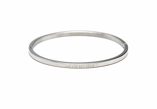 Oh My Shop BC2566F - Bracelet Jonc Fin Acier Argenté avec Message La Vie est Belle