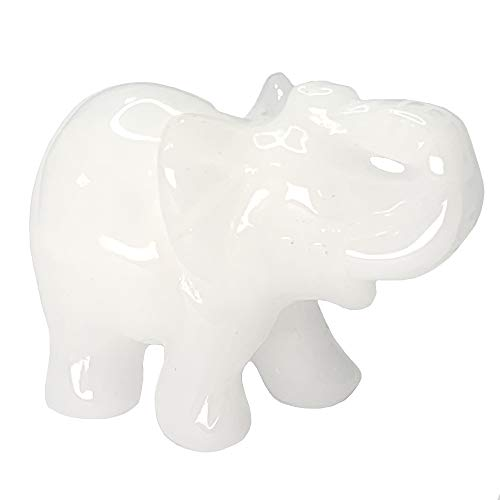 Carved Healing Crystals Gemstones Elephant Statue Figurine Collectible Decor 1.5 inches (White Jade)