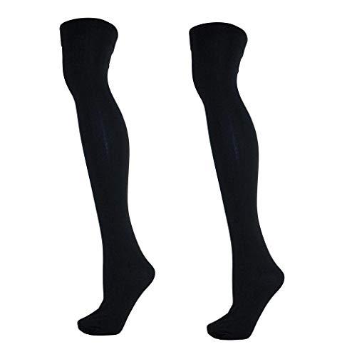 2 Paar Damen Thermo Overknee Strümpfe Kniestrümpfe schwarz 37-41 / schwarz