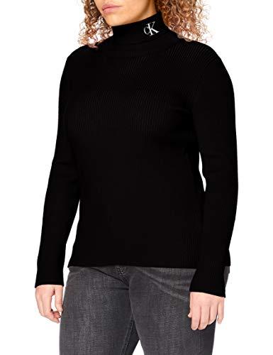 Calvin Klein Jeans Damen Rib Roll Neck with Pullover, Ck Black/Bright White, M