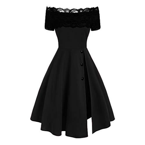 Fcostume Damen 50s Vintage Rockabilly Kleid Off Shoulder Cocktailkleid Knielang Bleistift Kleid