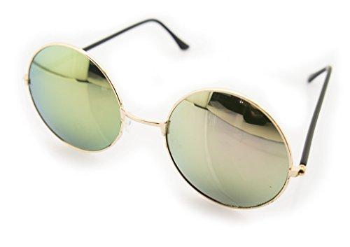 HAND 7001 John Lennon Style Sonnenbrille mit violetten verspiegelten Objektiven - Breite bei Tempeln 132 mm - 100% UV400 Schutz - Silberfarbener Metallrahmen