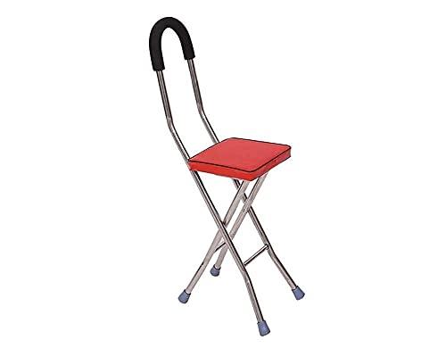 Affidati a Camminare Camminatore per Anziani Deambulatore Vecchio Stampella Sgabello Vecchio Pieghevole Camminatore con Piede A Quattro Zampe Bastone Rosso