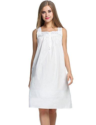 Balancora Damen Nachthemd Baumwolle Edel Nachtkleid weiß Victory Sleep Shirt Schlafshirts süß Retro Nachtwäsche Kurz ärmellos