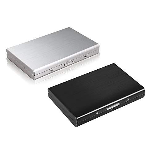 TLIYE Edelstahl-Kreditkarten-Box Schwarz+Silber 2 Stück, RFID Blocking Kreditkartenhülle Edelstahl Kreditkartenetui, Schützen deins kredit/kundenkarte/Ausweis/Führerschein Datenschutz und Schutz