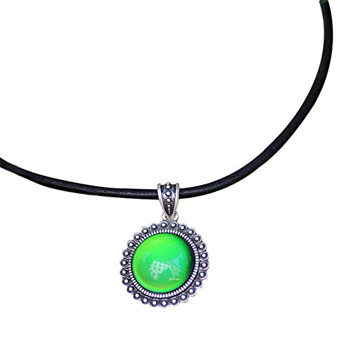 Handmade Mood Stone in Antique Sterling Silver Finish Classic Round Shaped Pendant Magic Color Change Mood Necklace Leather Necklace