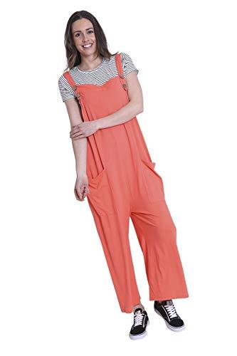 Wash Clothing Company Damen - Leichte Jersey Latzhose - lockerer Sitz - Coral Weites Bein One Size AMBERCORAL-One Size